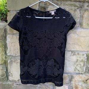 Black Banana Republic lace-insert blouse